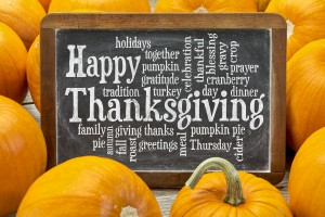 Happy Thanksgiving word cloud on a  vintage slate blackboard sur